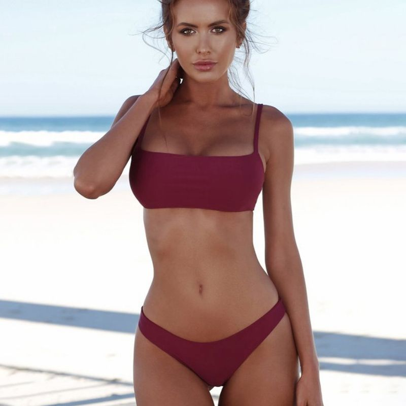 2019 Sexy Bikini Set Women Swimsuit Solid Bikini Backless Swimwear Low Waist Bathing Suit Female Brazilian Biquini