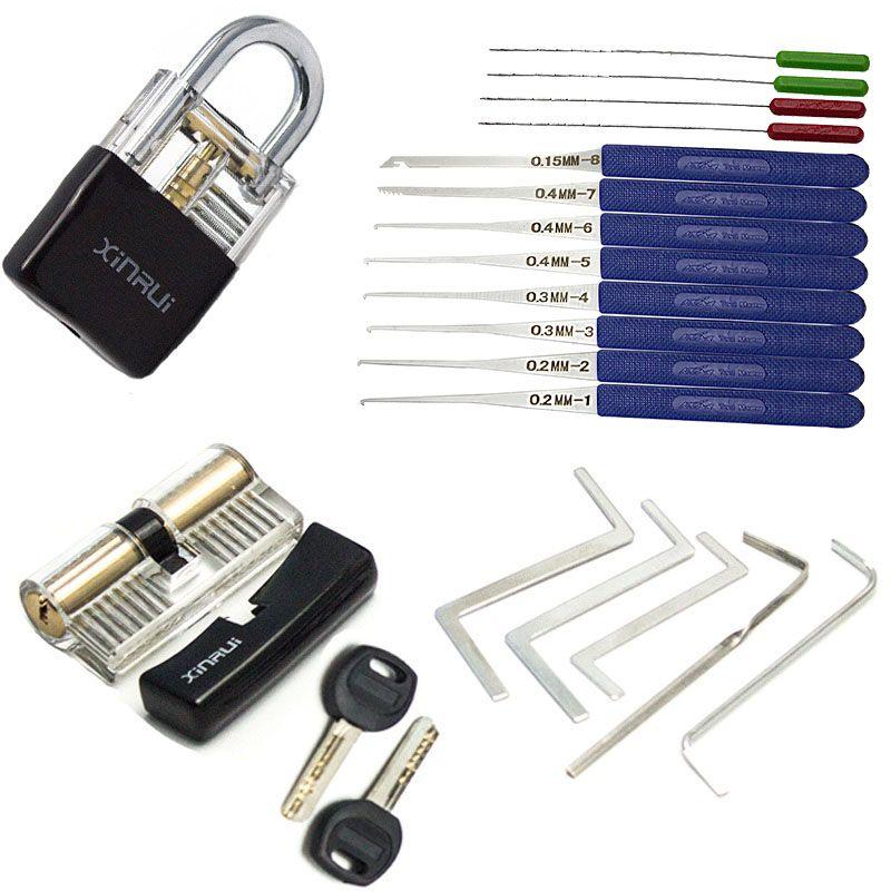 Outil de clé de Tension de serrurier, combinaison de serrure de sélection pratique, outils d'extracteur de clé cassés avec Transparent avec couvercle noir