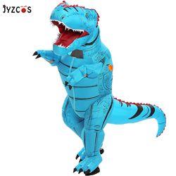 Jyzcos Dewasa Anak-anak Dinosaurus Tiup Kostum T-Rex Kostum Halloween Pesta Kostum untuk Wanita Pria Jurassic Dunia Cosplay Kostum