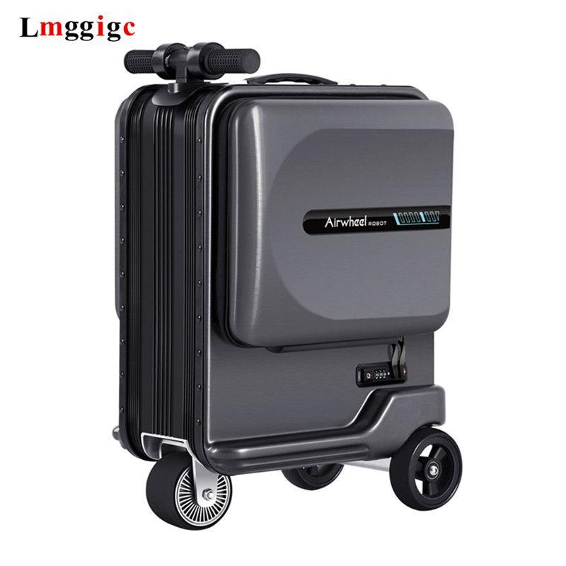 Neue Elektrische Reiten Koffer Tasche Intelligent Rolling Reise Gepäck Box Rideable trolley Fall nur 7,5 kg roller Kabine Tragen auf