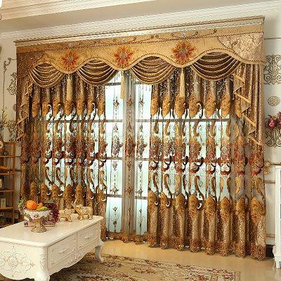 Europäischen stil Gehobenen chenille gestickte Pelmet Retro gericht gesponnen gold stickerei wohnzimmer, volant, Zusätzliche kauf