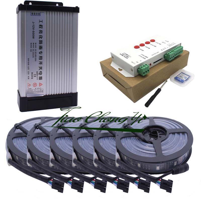 40M 5050 RGB Traum Farbe 6803 Led-streifen Schwarz PCB IP67 Wasserdicht und 33A 12V Regendicht Netzteil und T1000S controller KIT