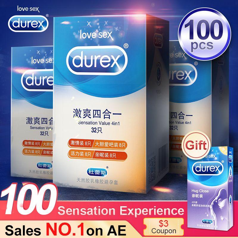 Durex préservatif 100 pièces 4 Types Ultra mince coq préservatif intime marchandises produits de sexe en caoutchouc naturel Latex manchon de pénis sexe pour hommes