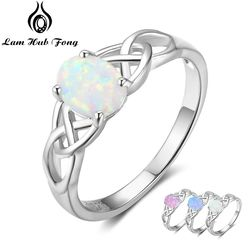 Elegant 925 Sterling Silver Braided Ring with Oval White Pink Blue Opal Stone Wedding Engagement Rings for Women (Lam Hub Fong)