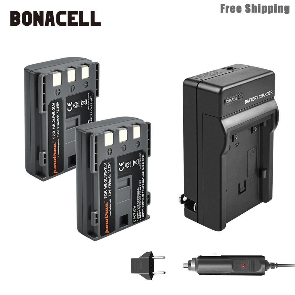 Bonacell 1700mAh NB-2L NB2L NB-2LH NB 2LH NB2LH Caméra Batterie + Chargeur Pour Canon Rebel XT XTi 350D 400D G9 G7 S80 S70S30 L50