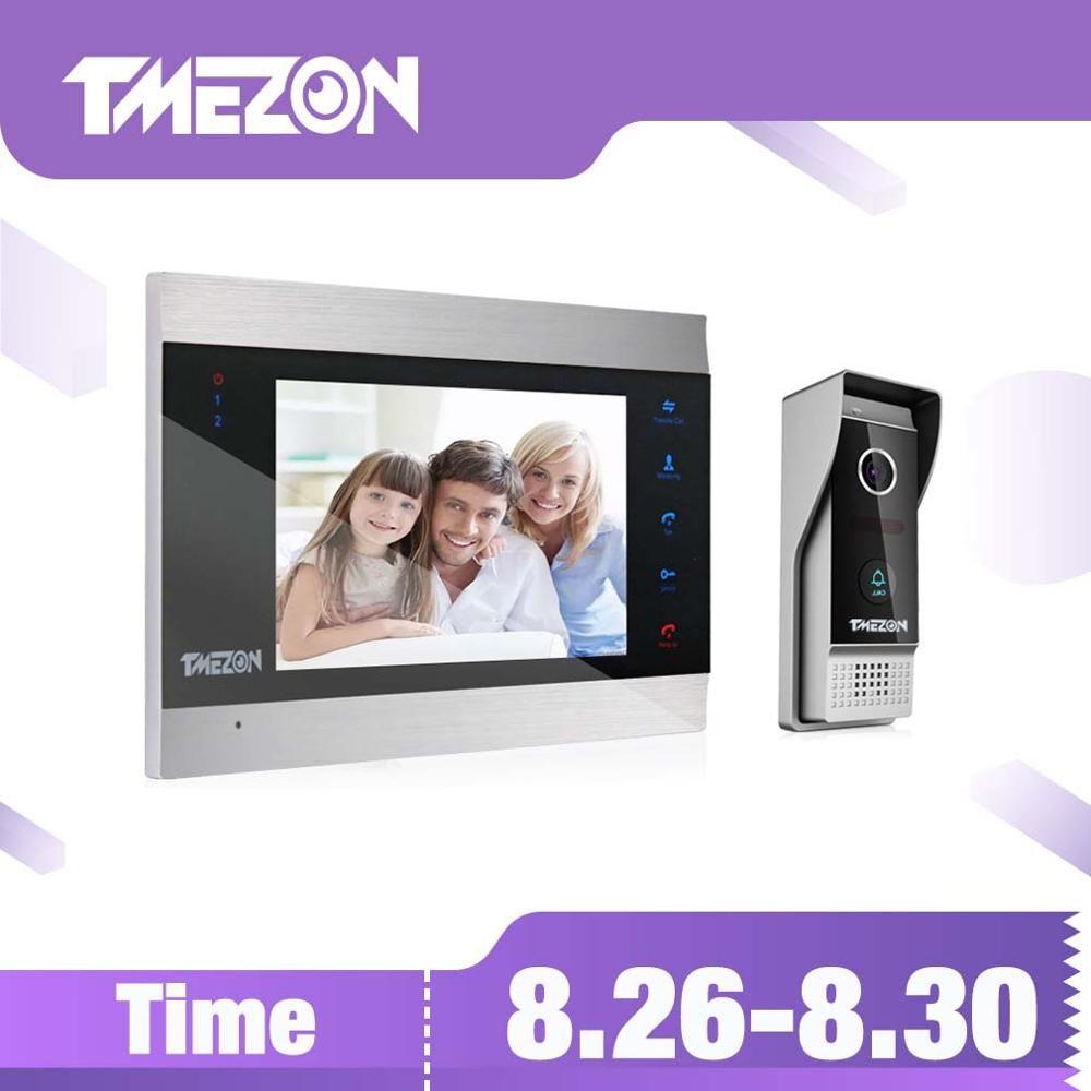 TMEZON 7 pouces TFT système d'interphone vidéo filaire avec 1x 1200TVL caméra de téléphone de porte étanche, prise en charge de l'enregistrement/instantané sonnette