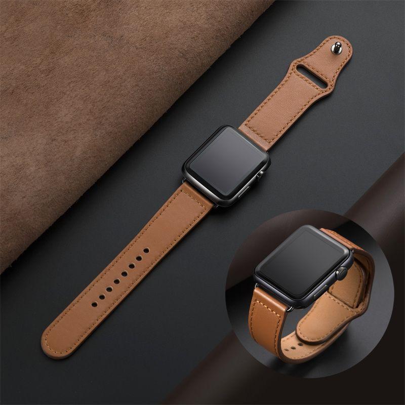 Bracelet en cuir véritable pour apple bracelet de montre 42mm 44mm montre apple 4 5 38mm 40mm iwatch 3/2/1 bracelet de remplacement correa