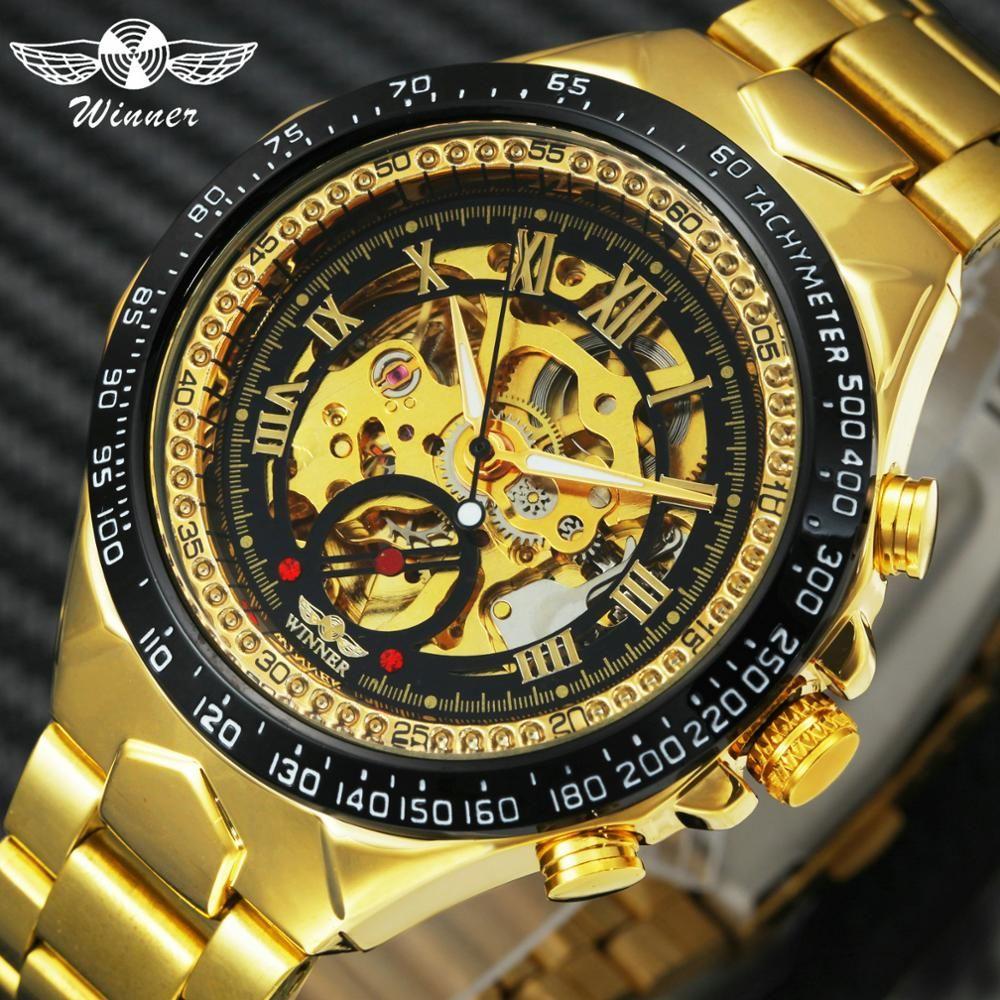 WINNER officiel Vintage mode hommes montres mécaniques bracelet en métal Top marque de luxe meilleure vente Vintage rétro montres + boîte