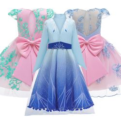 Elegant Girls Dress Princess Elsa Dress for Baby Girls Wedding Gown Kids Dresses for Girls Birthday Party Dress Children Costume