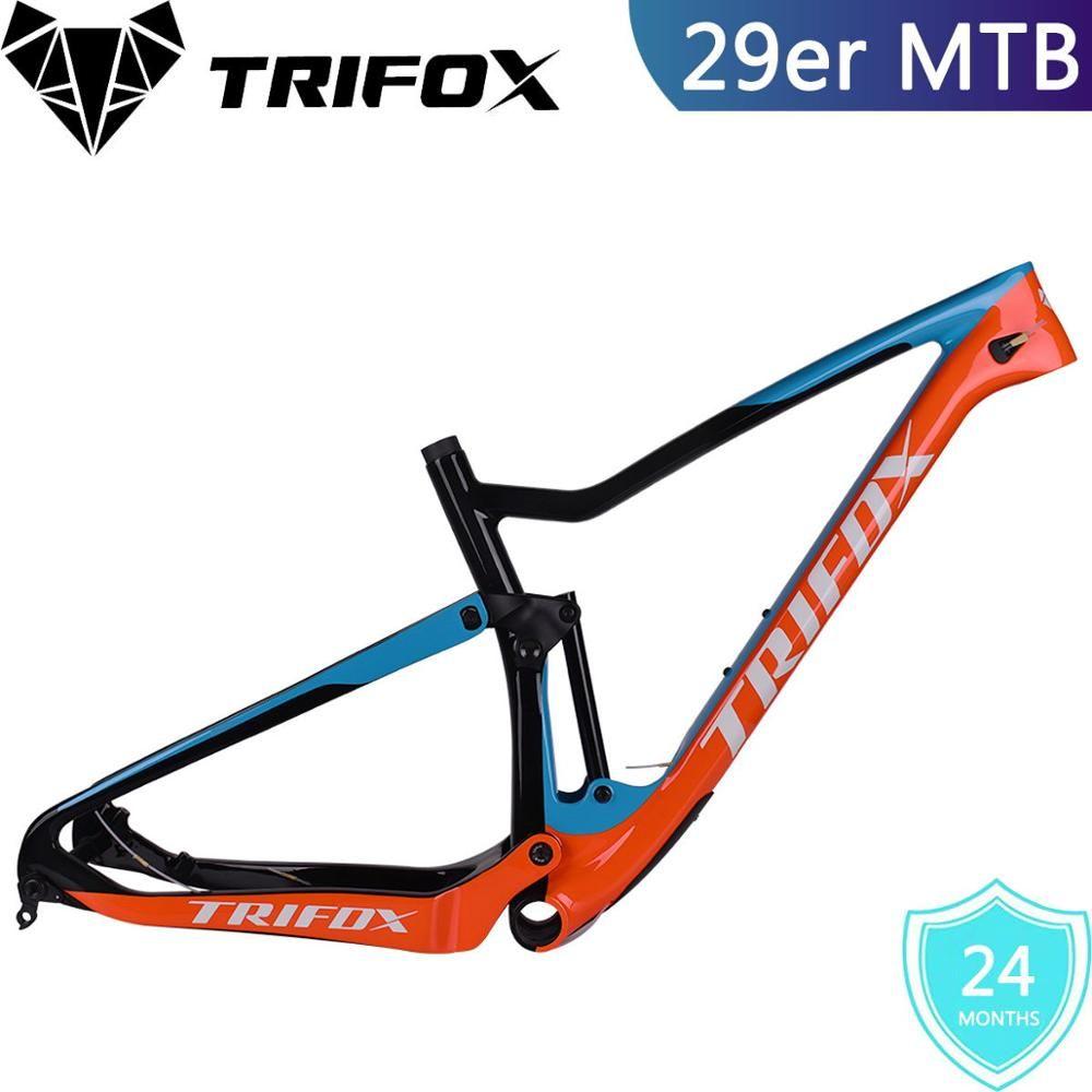 TRIFOX Full Suspension MTB rahmen 29er carbon mountainbike rahmen cuadro carbono mtb T800 quadro Boost 148*12 fahrrad rahmen