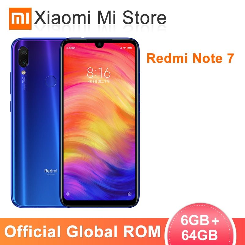 Global ROM Xiaomi Redmi Note 7 6GB 64GB Mobile Phone Snapdragon 660 Octa Core 6.3