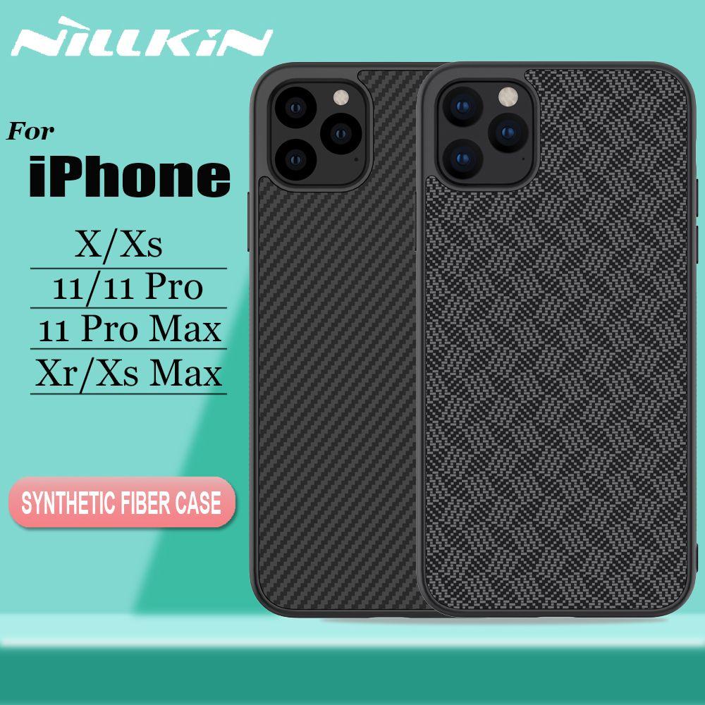 Nillkin pour iPhone 11 Pro Max X Xr Xs Max housse de protection en Fiber de carbone aramide dur PC plastique étui pour iPhone 11 Pro Max