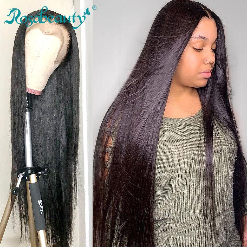 Rosabeauty 250 densité brésilienne 13x6 sans colle dentelle avant perruques de cheveux humains pré plumé pour les femmes noires 28 30 pouce 360 perruque frontale