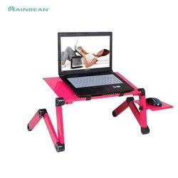 Adjustable Aluminum Laptop Desk Ergonomic TV Bed Laptop Tray PC Table Stand Notebook Table Desk Stand With Mouse Pad Pink
