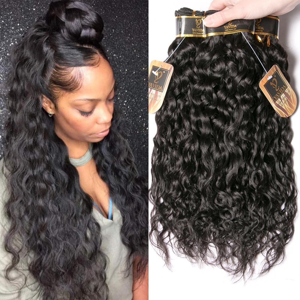 Yavida indien cheveux de vague d'eau paquets de cheveux indiens paquets d'armure de cheveux humains 1B/couleur naturelle non-remy Extension de cheveux
