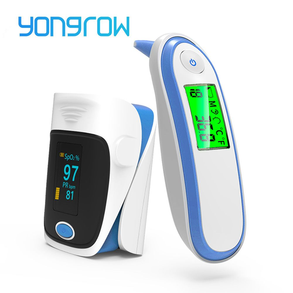 Yongrow Medical health Care Infrared Thermometer Baby Adult Ear oximeter Fingertip SPO2 Pulse De Pulso De Dedo LCD Digital IRT1