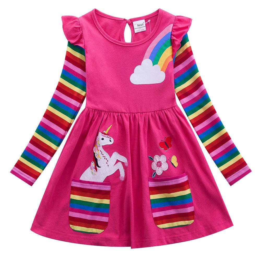 Fille dessin animé à manches longues robe licorne fille bébé portant coton broderie Figure enfant portant robe automne robe LH3660