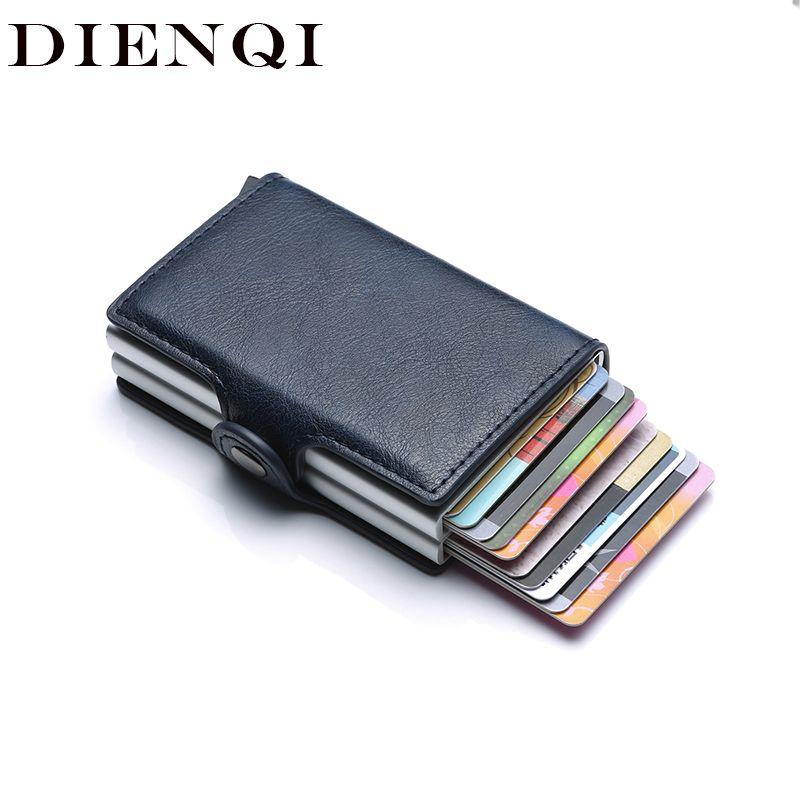 Rfid blocage Protection hommes id crédit portefeuille porte-cartes en cuir métal aluminium affaires porte-cartes de banque porte-carte de crédit