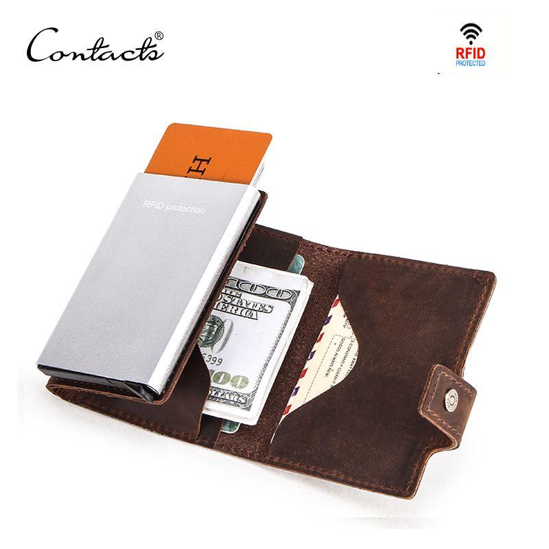 CONTACT'S Crazy Horse cuir hommes portefeuille RFID bloquant les porte-carte de crédit boîte en aluminium automatique pop up Business sécurité sac à main