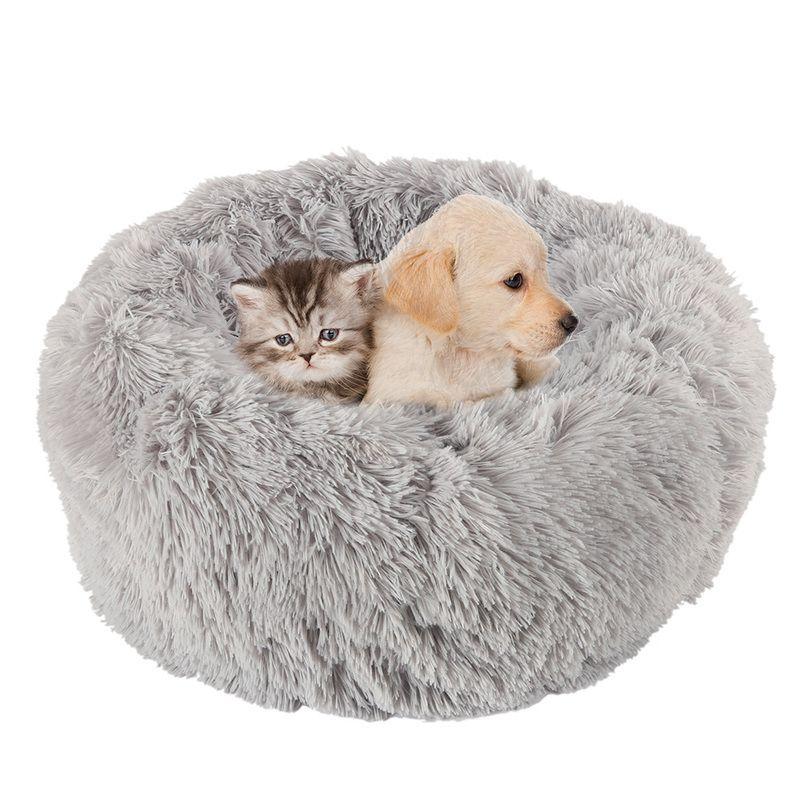 Lit Long en peluche doux pour chien gris chat rond hiver chaud lits de couchage sac chiot chien chats coussin tapis Portable animaux fournitures