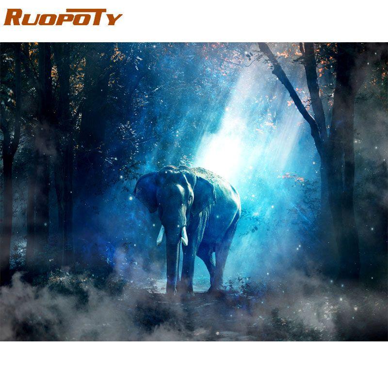 Cadre RUOPOTY peinture à la main par numéros Kit éléphant animaux peinture par numéros moderne mur Art image pour décor à la maison œuvre 60x75