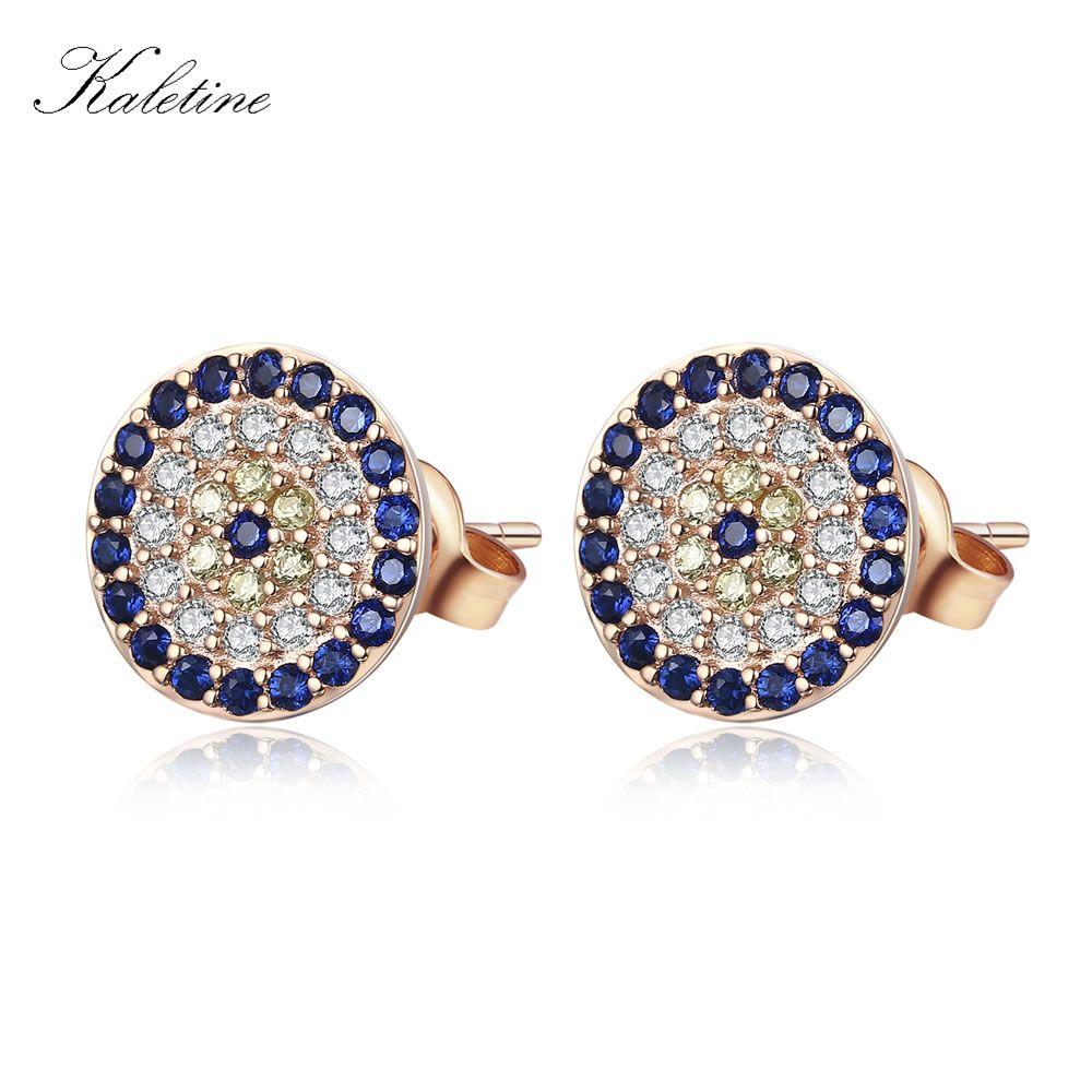 Haute qualité véritable 925 en argent Sterling CZ cristal chanceux turquie mauvais œil boucles d'oreilles pour les femmes jaune Rose or bijoux KLTE009