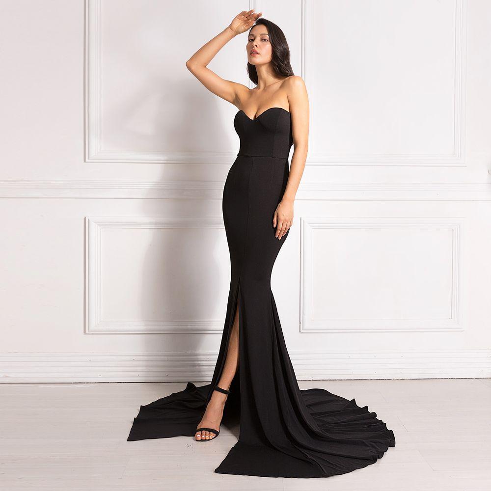 Sexy bretelles rouge Maxi robe fendue avant longue longueur de plancher trompette robe de sirène sans manches élégante robe de soirée