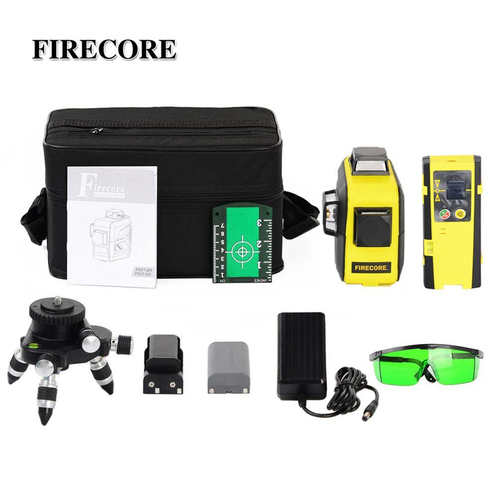 FIRECORE 12Lines 3D F93T-XR F93T-XG Red/Green Laser Level +Receiver/L-Bracket/3M Tripod