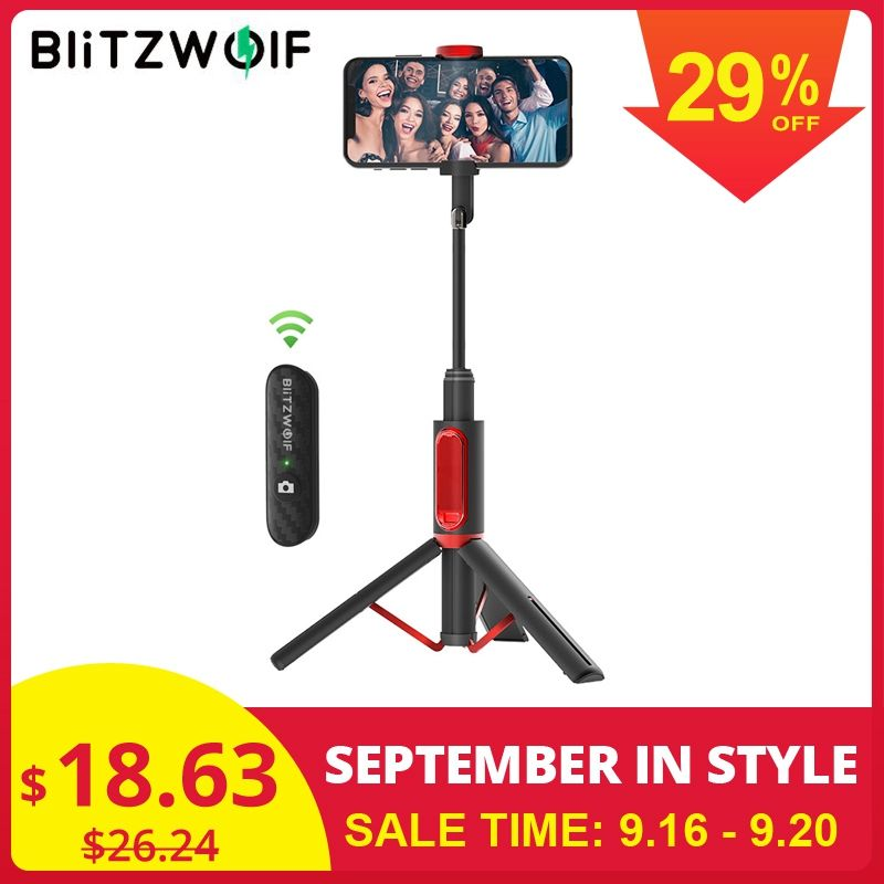 BlitzWolf BW-BS10 All In One Portable bluetooth Selfie Stick with Retractable Tripod Extendable Monopod for Huawei/Xiaomi Phone