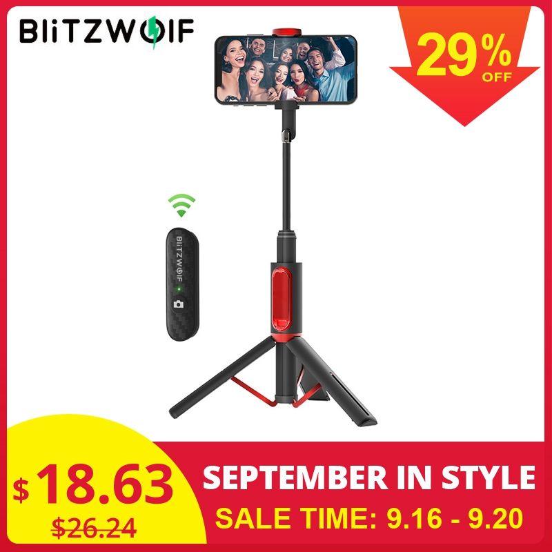 BlitzWolf BW-BS10 tout en un Portable bluetooth Selfie bâton avec trépied rétractable extensible monopode pour téléphone Huawei/Xiaomi