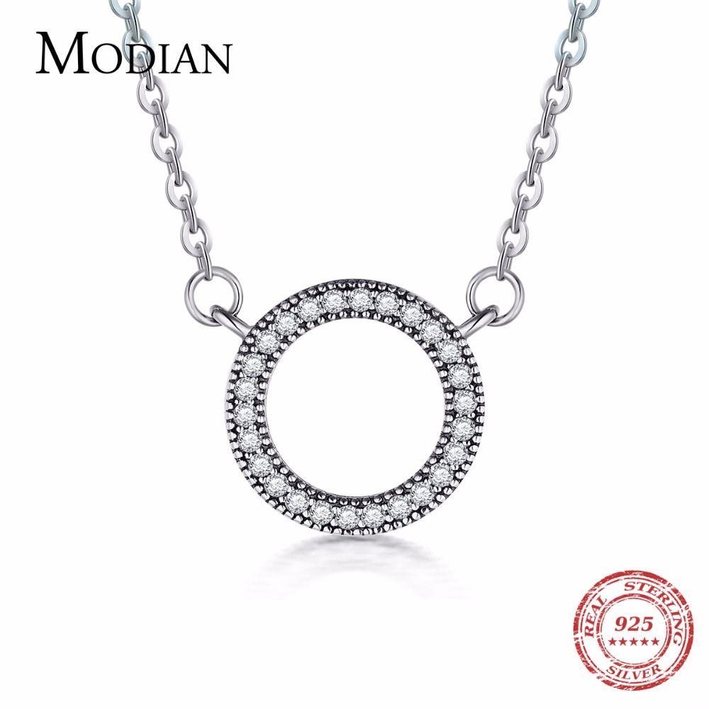Modian 925 pendentif coeurs en argent Sterling mode classique marque claire zircon cubique cercle collier pour femmes bijoux de luxe