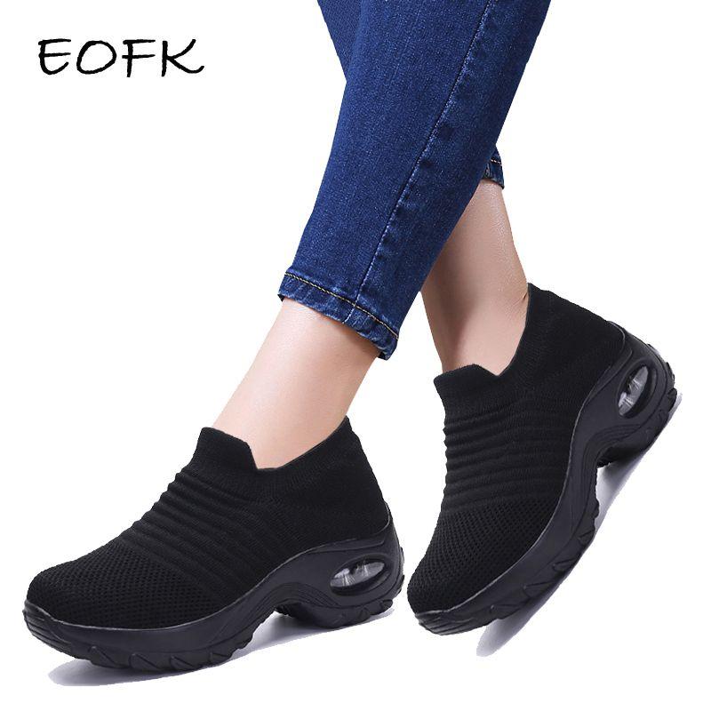 EOFK 2019 mode automne femmes plate-forme chaussures femme chaussures plates pour femme automne décontracté noir Ballet chaussures confort chaussette sans lacet chaussures de danse