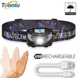Mini Rechargeable LED HeadLamp Body Motion Sensor LED Bicycle Head Light Lamp Outdoor Camping Flashlight With USB Port