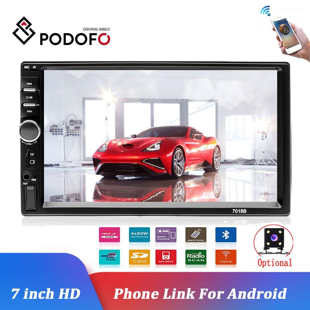 Podofo voiture lecteur multimédia Autoradio 2Din 7 HD Autoradio Audio stéréo écran tactile auto MP5 lecteur Bluetooth TF USB FM caméra