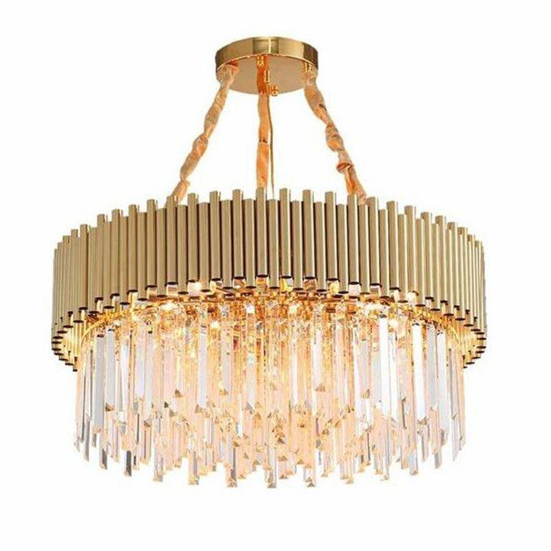 Moderne Kristall Kronleuchter Luxus Gold edelstahl wohnzimmer Esszimmer Runde LED Kristall Kronleuchter Hängen Leuchten