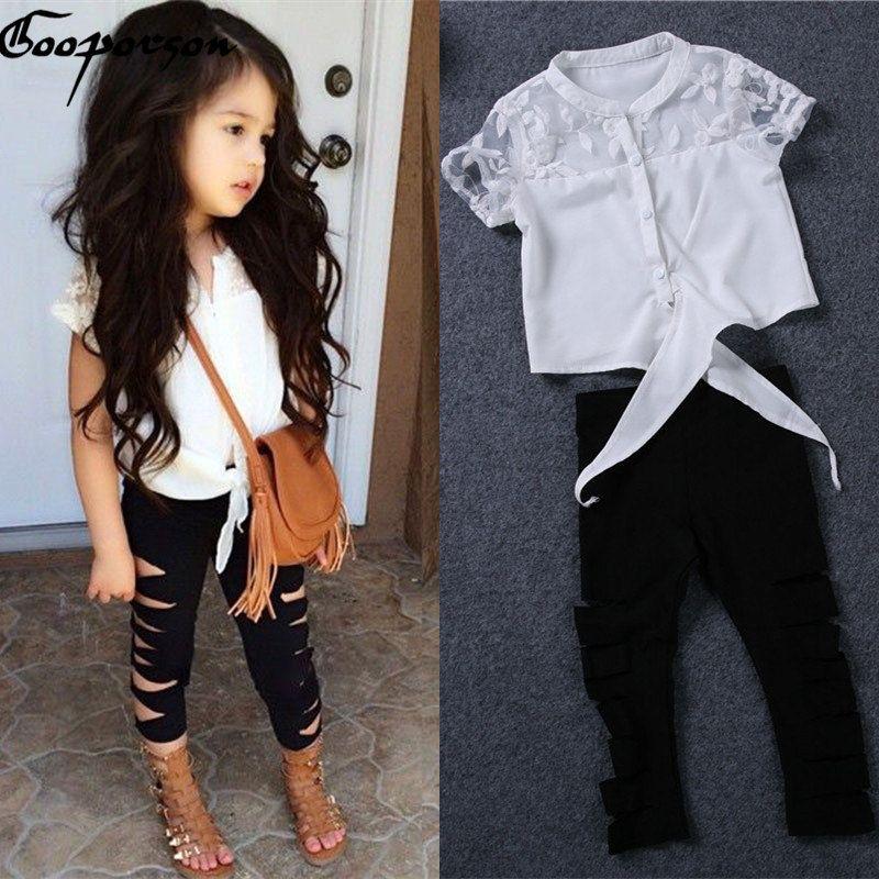 Filles vêtements ensemble été blanc dentelle chemise déchiré leggings bébé fille vêtements ensemble mode marque tenues enfants vêtements costume trous