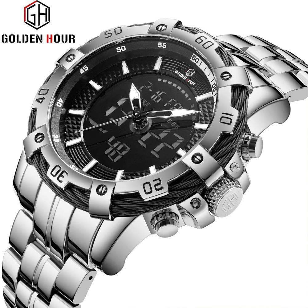 GOLDENHOUR Sport Dual Time Quartz Watch Men Big Case Military Analog Digital Mens Watches Top Brand Luxury Steel Strap Clock