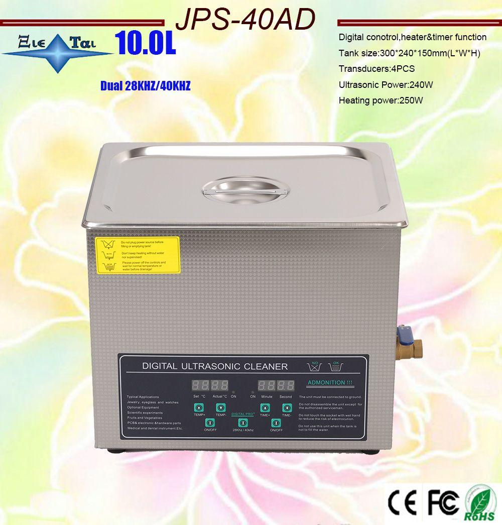 Freies verschiffen 110 V/220 V Dual frequenz 40 KHz/28 KHZ 240W JPS-40AD Digitale heizung & timer Ultraschall Reiniger 10L