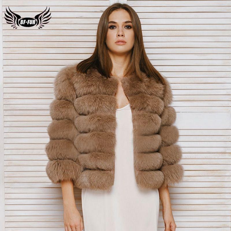 BFFUR 2019 Echt Pelzmantel Frauen Kleidung Fünf Reihe Kurze Warme Jacke Sechs Reihe Mode Natrual Fuchs Pelz Weibliche Mäntel park Mit