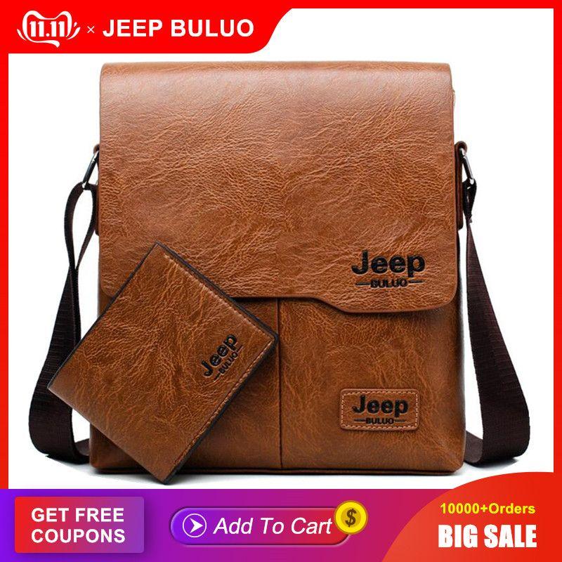 Hommes fourre-tout ensemble JEEP BULUO célèbre marque nouvelle mode homme en cuir sac de messager mâle croix corps épaule sacs d'affaires pour hommes