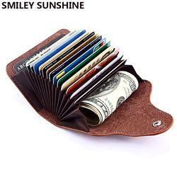 SMILEY SUNSHINE Genuine Leather Unisex Business Card Holder Wallet Bank Credit Card Case id Holders Bag Men Women cardholder
