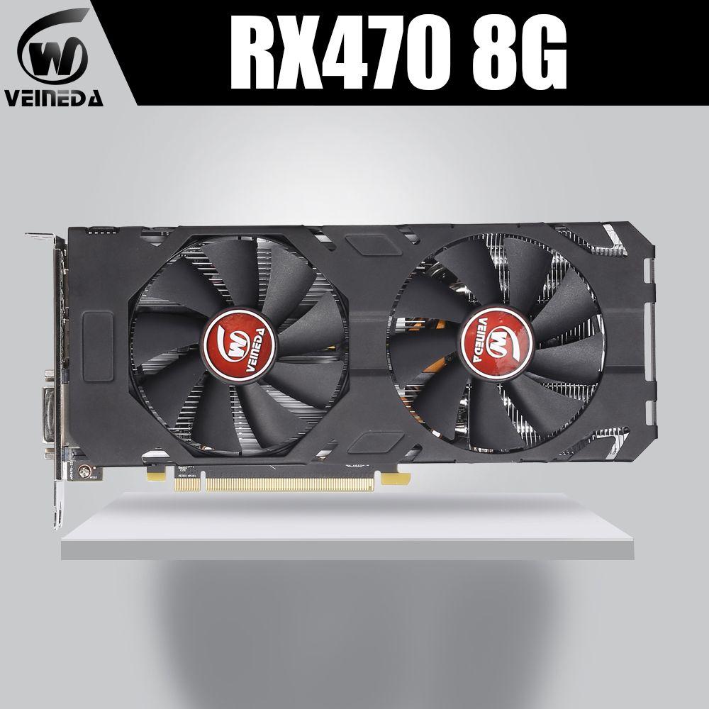 VEINEDA 100% Original Grafikkarte AMD Radeon rx 470 8GB 256Bit GDDR5 PCI-E 3,0 HDMI DP video karte für nVIDIA Geforce Spiele