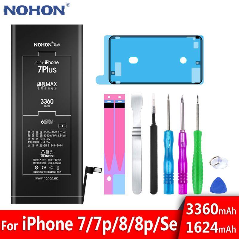 Batterie NOHON pour Apple iPhone 7 8plus SE 7plus 8plus iPhone7 iPhone8 7G 8G téléphone portable Lithium polymère Bateria outils gratuits