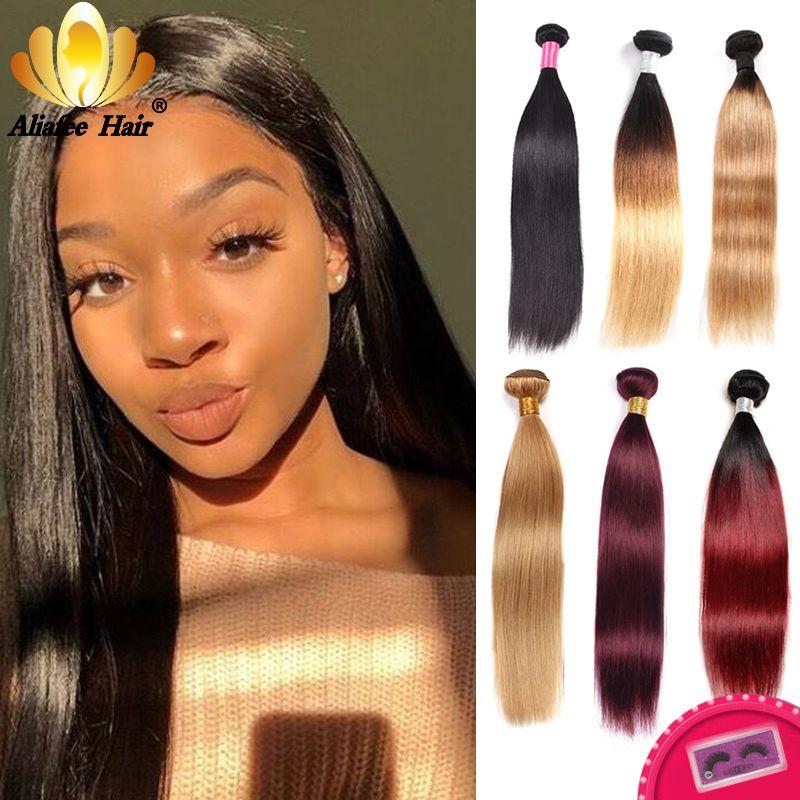 Aliafee brésilien cheveux raides armure faisceaux Ombre/naturel cheveux humains faisceaux #1B/#2/#4/#99/#27 Remy 3/4 pièces Extension de cheveux