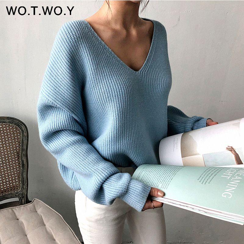 WOTWOY automne hiver basique tricoté bleu blanc pull femmes 2019 mode décontracté col en v femme pulls coréen dame pulls
