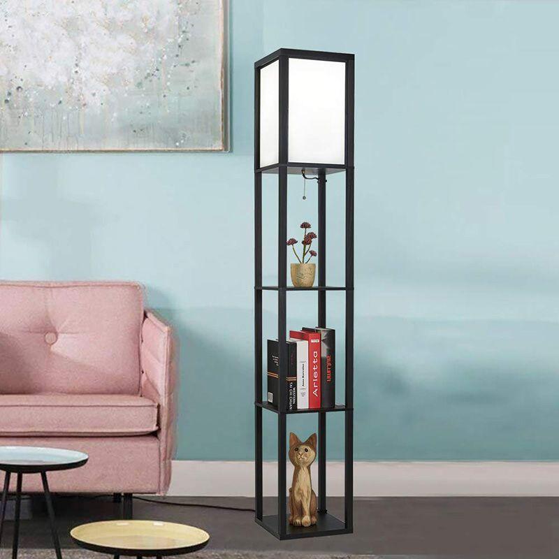 LED étagère lampadaire cadre en bois grande lumière avec organisateur stockage présentoirs-moderne lampe sur pied pour salon chambre