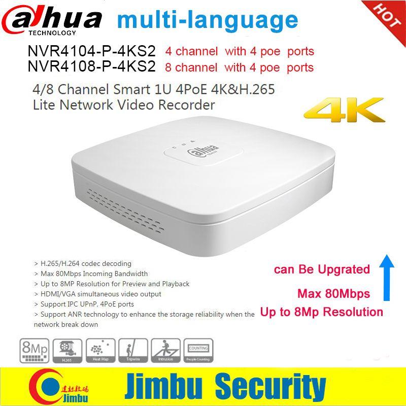 Dahua NVR NVR4104-P-4KS2 NVR4108-P-4KS2 4 Ports PoE Enregistreur Vidéo 4Ch/8CH Smart Mini 1U jusqu'à 8MP Résolution Max 80Mbps H.265