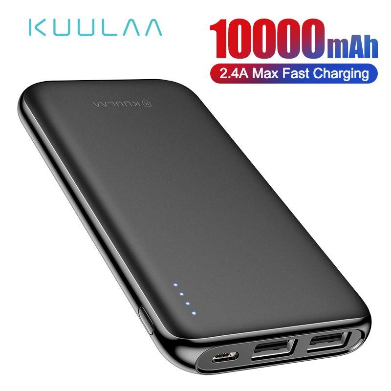 KUULAA Power Bank 10000 mAh Portable Charging Poverbank Dual USB Slim External Battery charger For Xiaomi Mi 8 9 iPhone 8 X XR