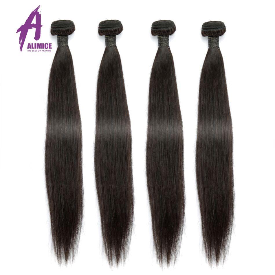 Les paquets malaisiens d'armure de cheveux droits traitent 100% cheveux humains 3/4 paquets d'alimice Remy prolongements de cheveux 8-28 pouces de couleur naturelle