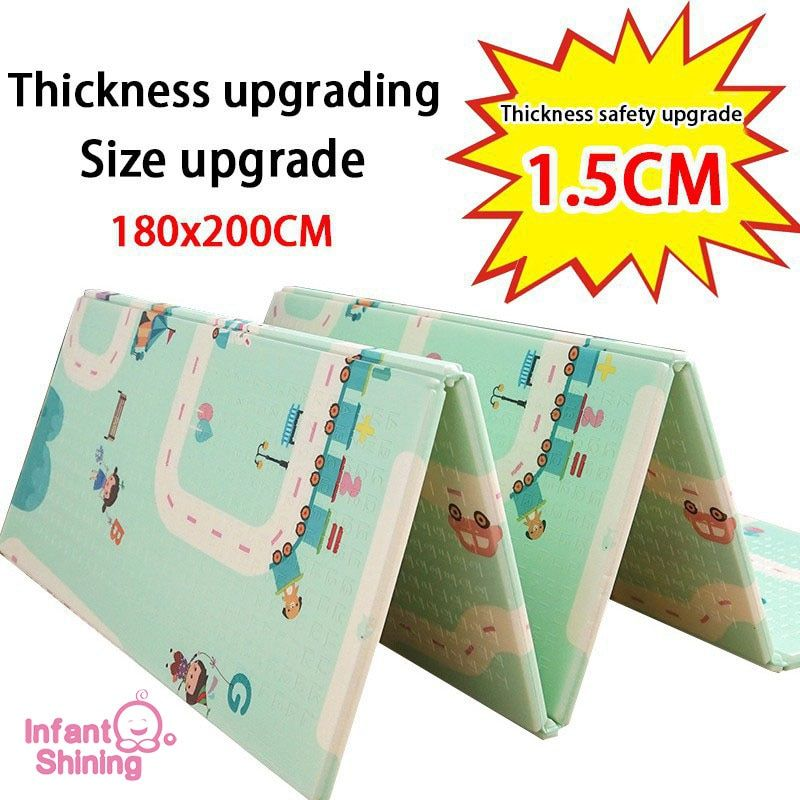 Infant Shining Thickened 1.5cm Play Mat 200*180cm Foldable Cartoon Baby Playmat Children Crawling Pad Puzzle Non-slip Game Pad